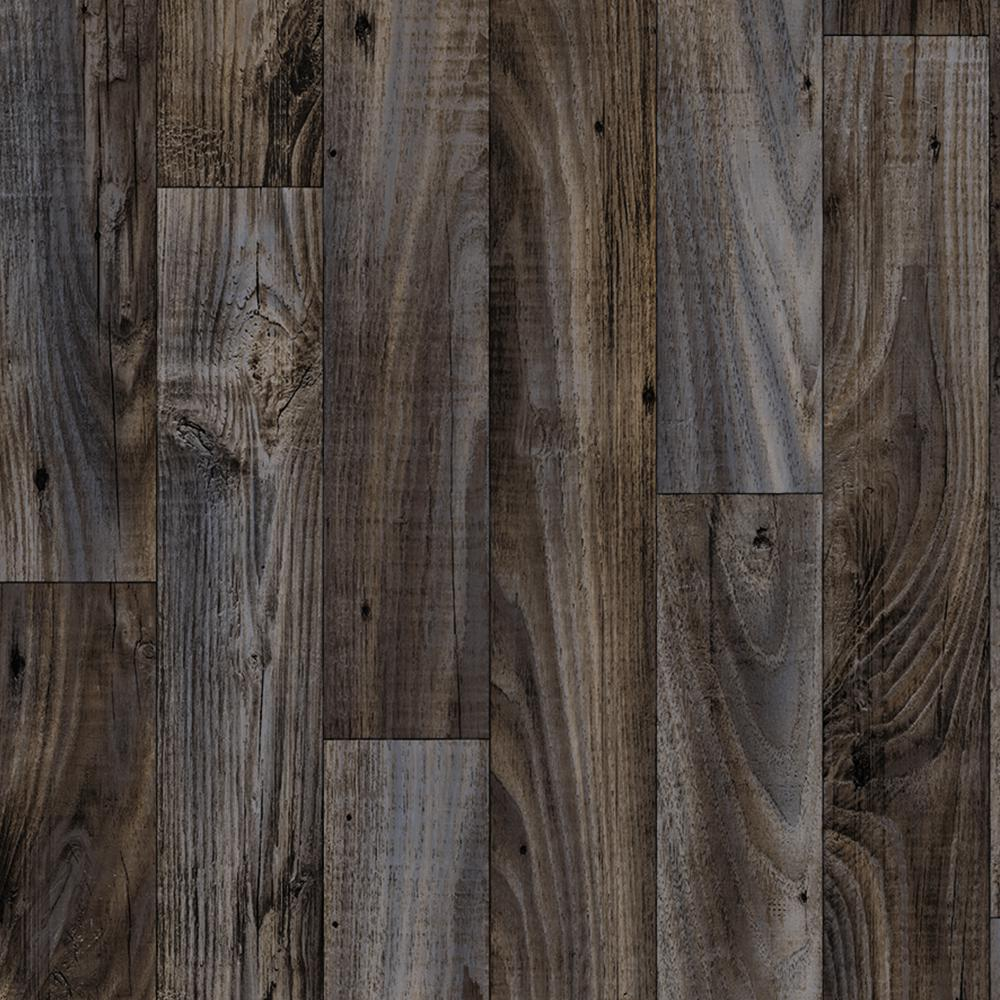 Trafficmaster smokehouse oak grey 13 2 ft wide x your for Dark wood vinyl flooring