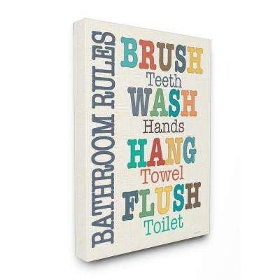 """16 in. x 20 in. """"Colorful Bathroom Rules Typography Art"""" by Jo Moulton Printed Canvas Wall Art"""