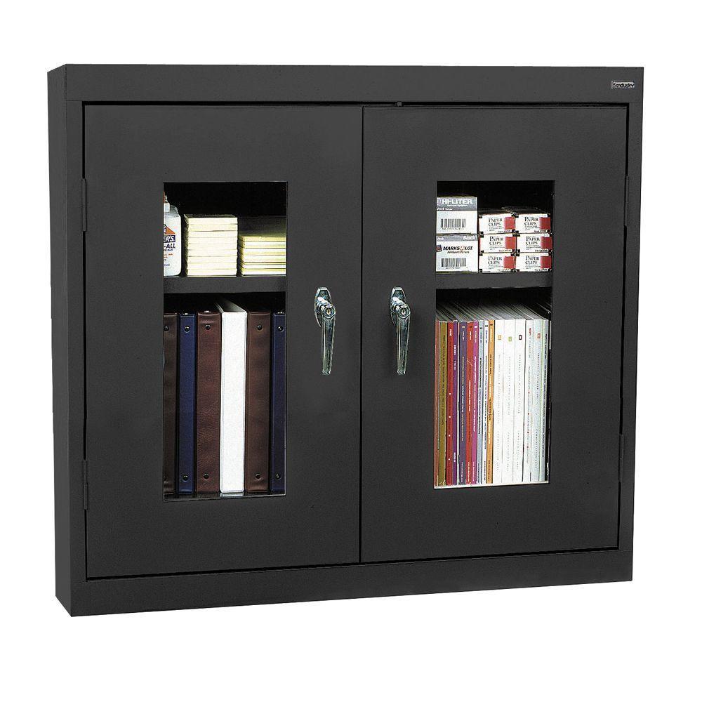 Sandusky 30 in. H x 36 in. W x 12 in. D Clear View Wall Storage Cabinet in Black