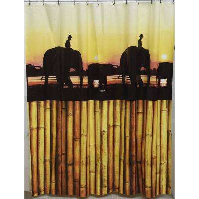 71 in. x 71 in. Brown The Island Peva Bath Printed Shower Curtain
