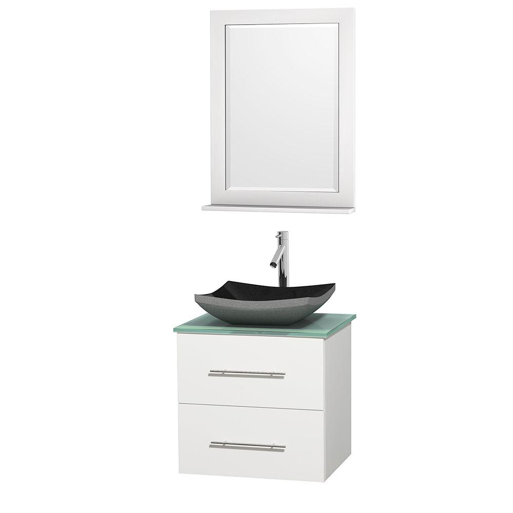 Wyndham Collection Centra 24 in. Vanity in White with Glass Vanity Top in Green, Black Granite Sink and 24 in. Mirror