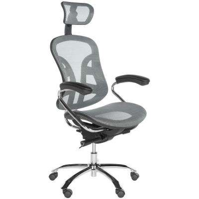 Jarlan Gray and Silver Nylon Swivel Office Chair