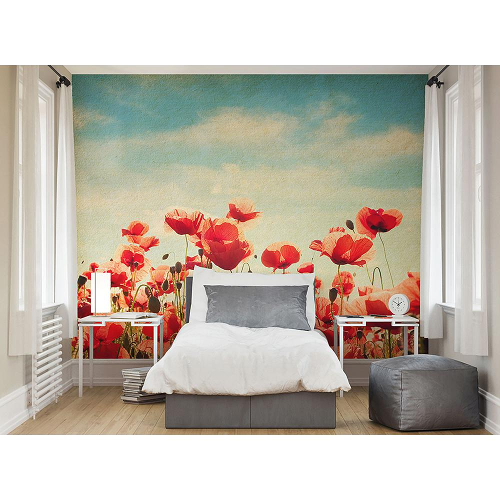 94 in x 118 inPoppies Wall Mural WAL0024 The Home Depot