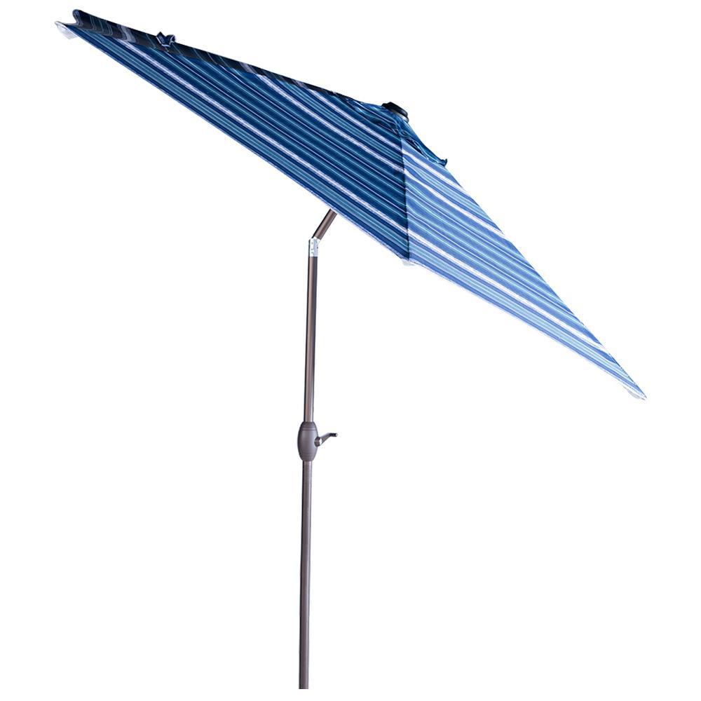 9 ft. Aluminum Market Push Tilt and Crank Patio Umbrella in Blue Stripe