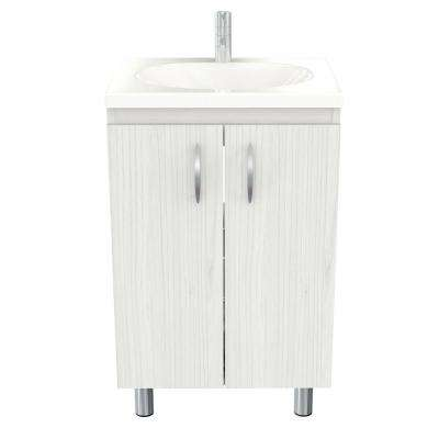 18.89 in. W x 14.96 in. D Traditional Washed Oak Bathroom Vanity with White Vanity Top and White Basin
