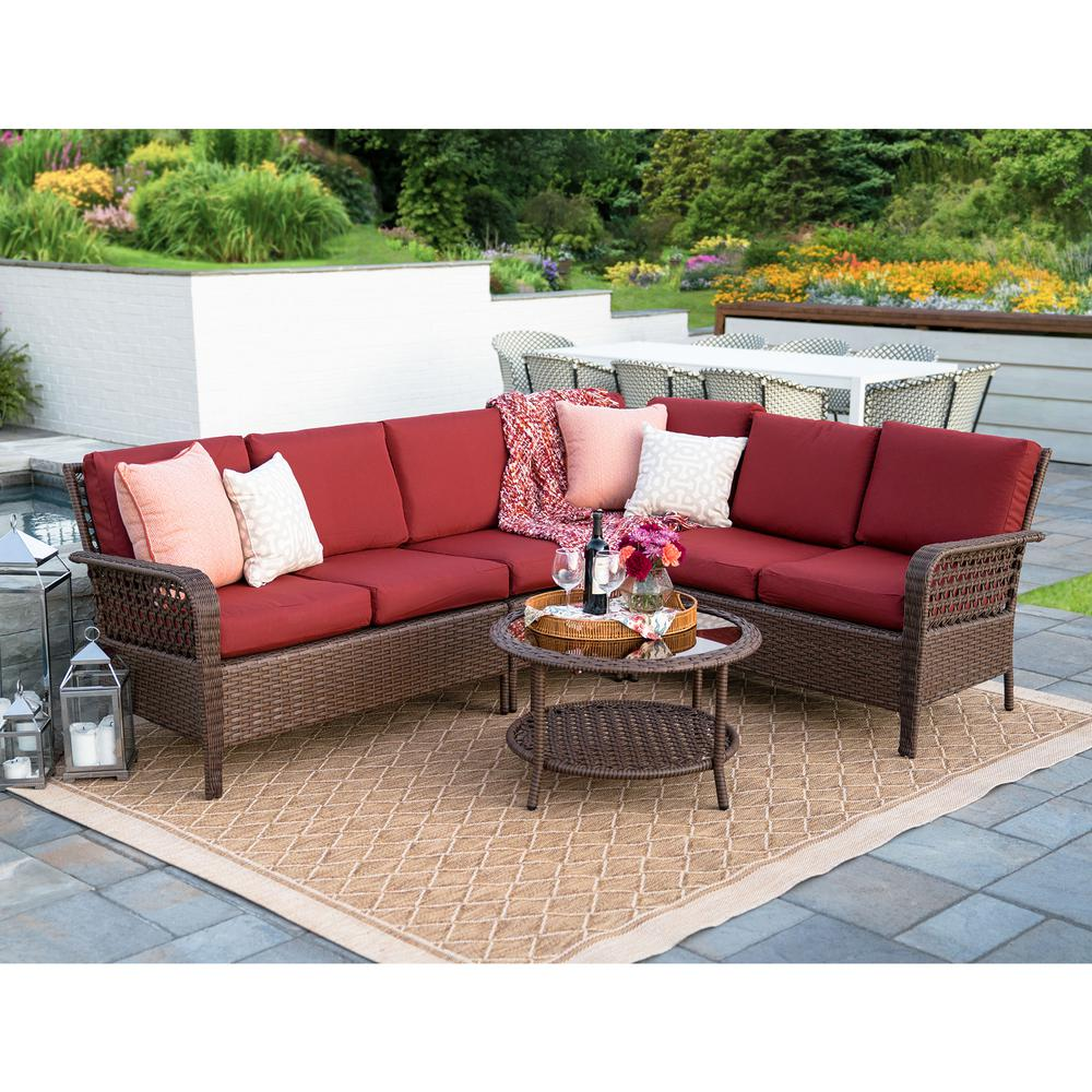 Leisure Made Bessemer 5-Piece Wicker Outdoor Sectional Set ... on 5 Piece Sectional Patio Set id=36917