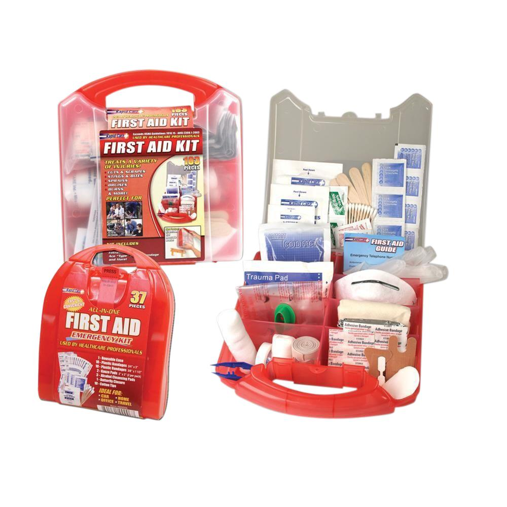 Rapid Care 183-Piece Detachable Wall Mount First Aid Kit With Bonus ...