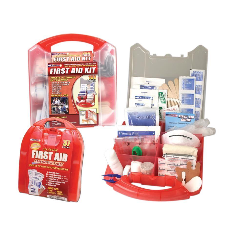183-Piece Detachable Wall Mount First Aid Kit With Bonus Travel Kit