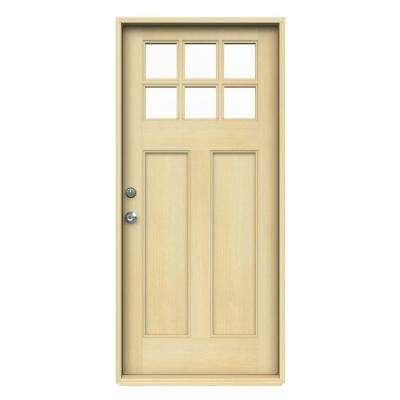 36 in. x 80 in. Craftsman 6-Lite Unfinished Hemlock Prehung Front Door with Unfinished AuraLast Jamb and Brickmould