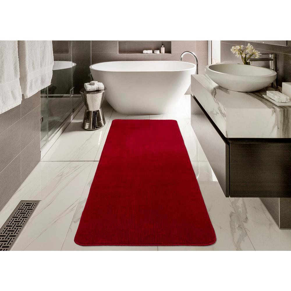Solid Design Red 2 ft. 2 in. x 8 ft. Non-Slip Bathroom Rug Runner