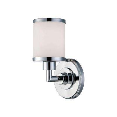 1-Light Chrome Wall Sconce with Etched White Glass