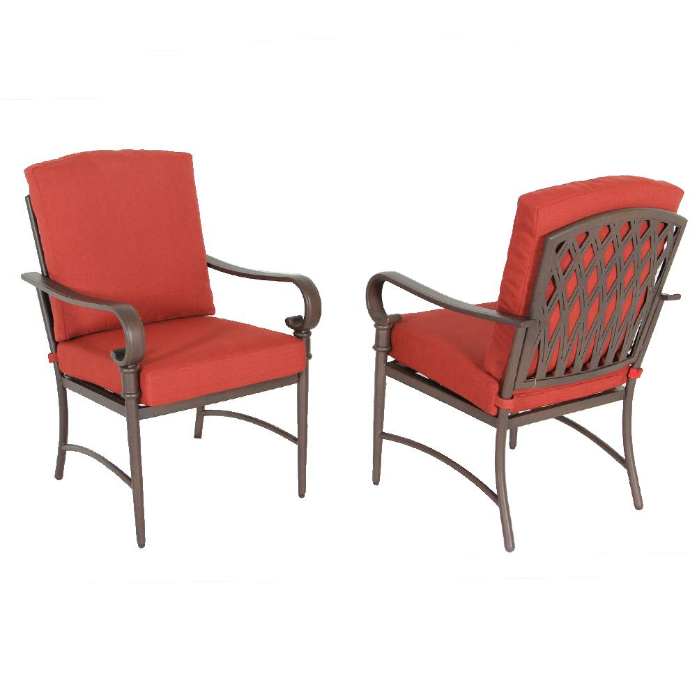 Oak Cliff Stationary Metal Outdoor Dining Chair with Chili Cushion (2-Pack)