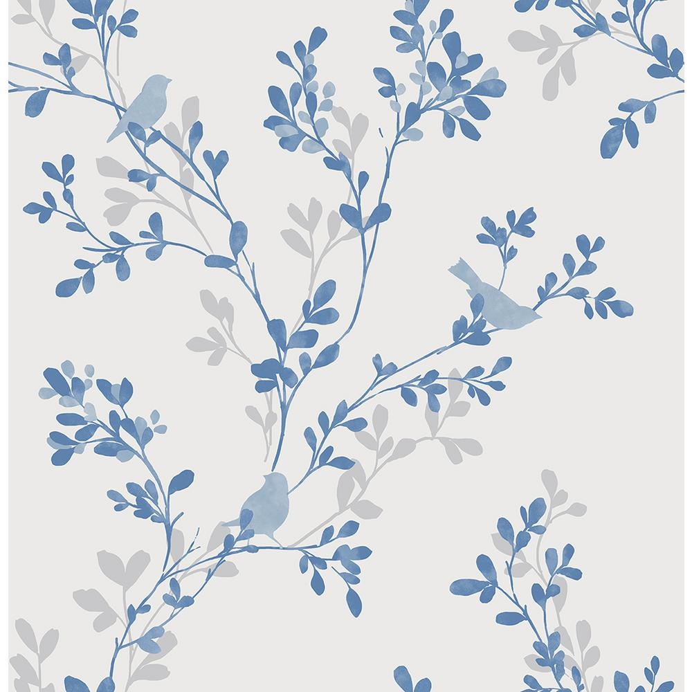 Brewster Chirp Blue Birds And Trees Wallpaper