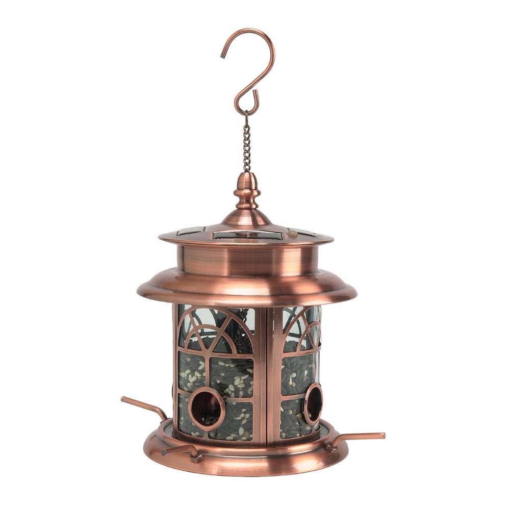 Arch Inlay Copper Solar Bird Seed Feeder