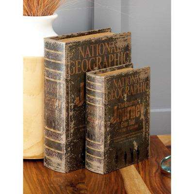 "Vintage Rectangular Wood and Faux Leather ""National Geographic"" Book Boxes (Set of 3)"