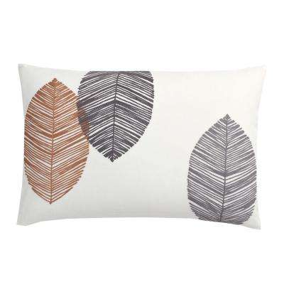 16 in. x 24 in. Gray Leaves Embroidered Pillow Cover