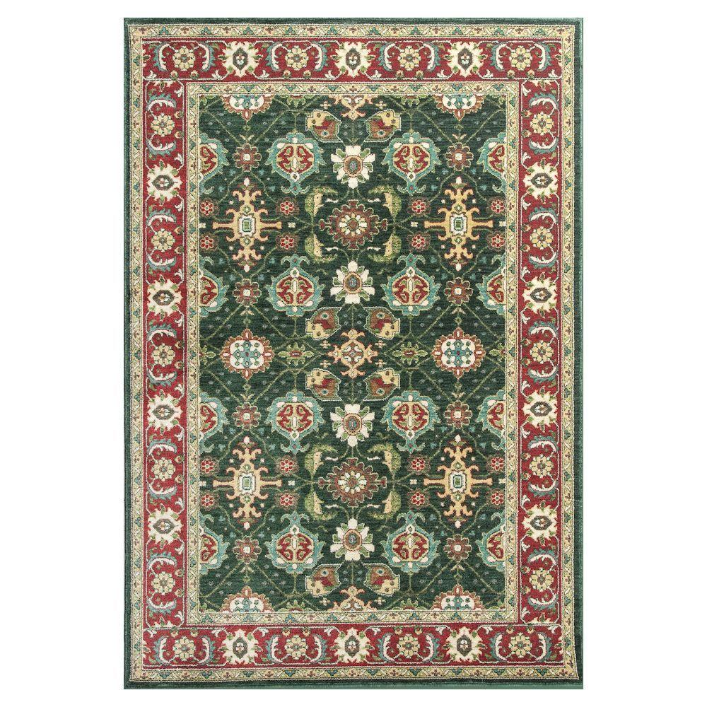 Kas Rugs Antiqued Mahal Emerald/Red 8 ft. x 11 ft. Area Rug With the Kas Rugs 8 ft. x 11 ft. Area Rug, you can bring a new appearance to any setting. This area rug has stain-resistant fabrics and features fade-resistant materials. It comes in a green shade, incorporating a cheerful and vibrant ambiance into any room. It has an oriental print, bringing in an ornate appearance to your home decor with intricate patterning. This rug has a 100% polyester design, which adds style and comfort. Color: Emerald/Red.