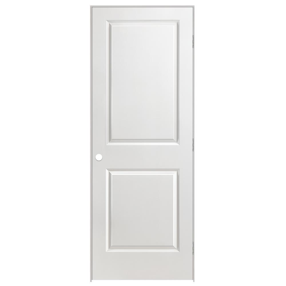 30 in. x 80 in. Solidoor 2-Panel Square Top Left-Handed Solid-Core Smooth Primed Composite Single Prehung Interior Door