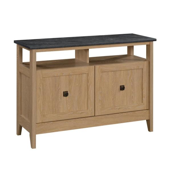 August Hill 43 in. Dover Oak Wood TV Stand Fits TVs Up to 43 in. with Storage Doors