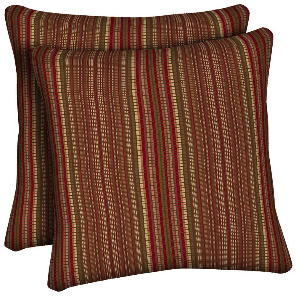 Hampton Bay Chili Stitch Stripe Outdoor Throw Pillow (2-Pack)