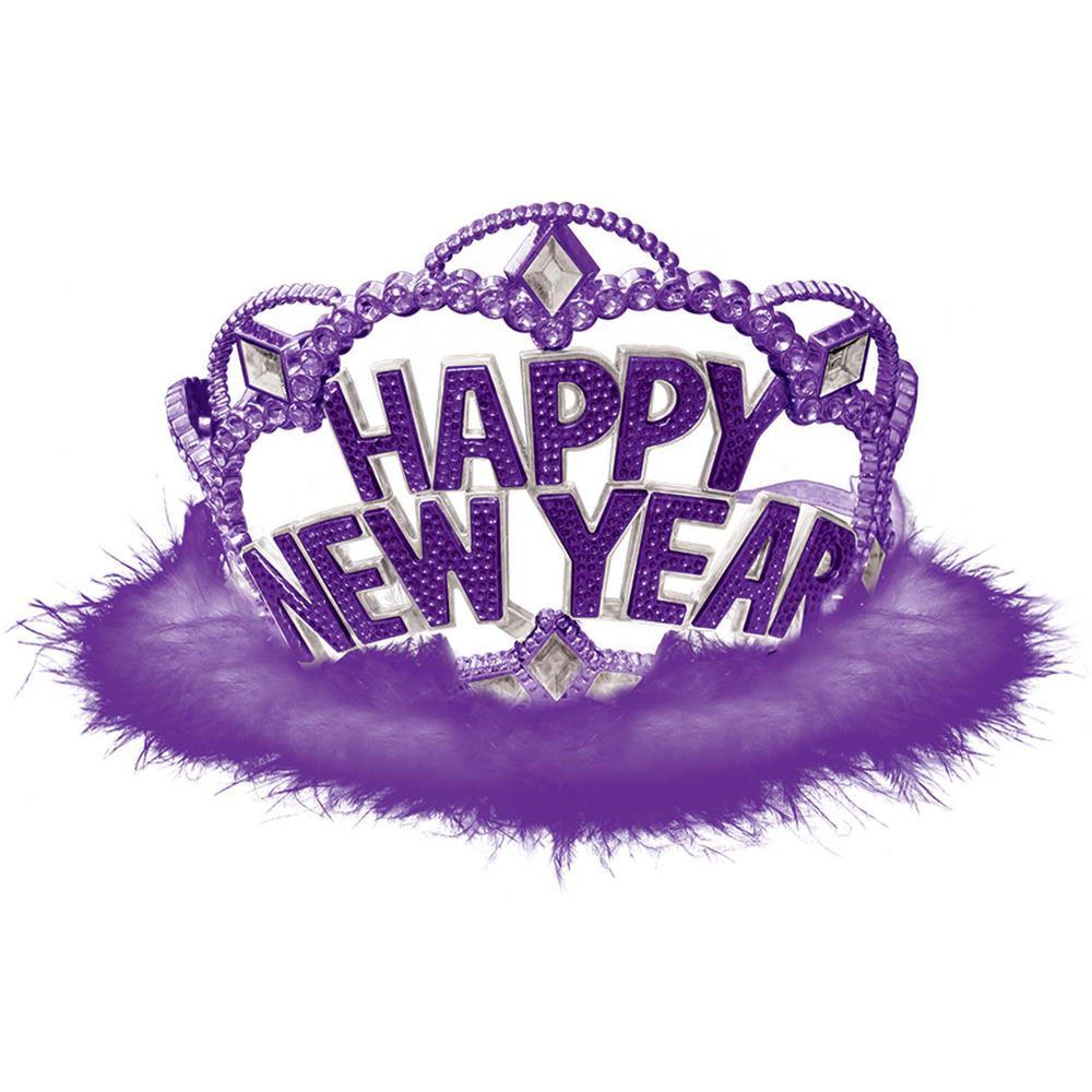 New Year's 3.5 in. Purple Tiara (4-Pack)