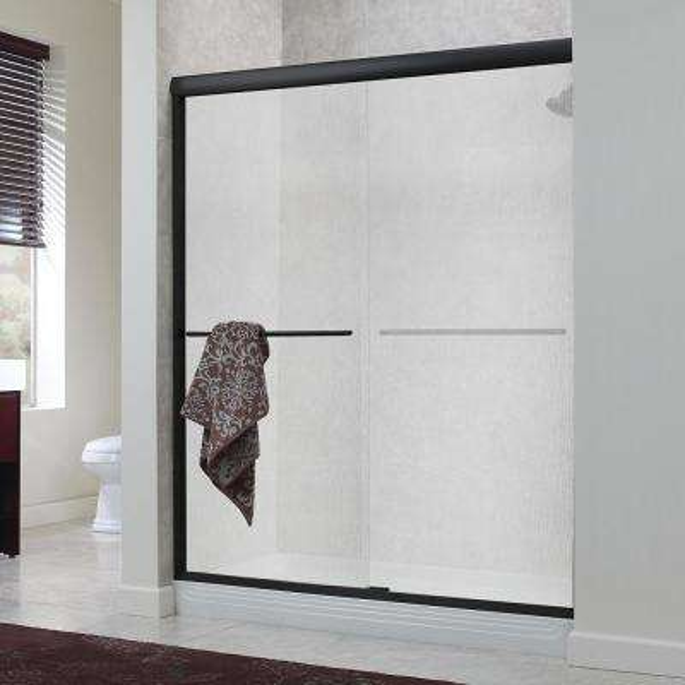 Cove 48 in. x 72 in. H Semi-Framed Sliding Shower Door in Oil Rubbed Bronze with 1/4 in. Rain Glass