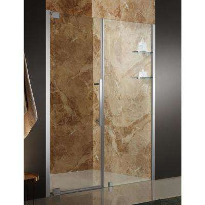 Duke 60 in. x 72 in. Semi-Frameless Pivot Shower Door in Polished Chrome with Handle