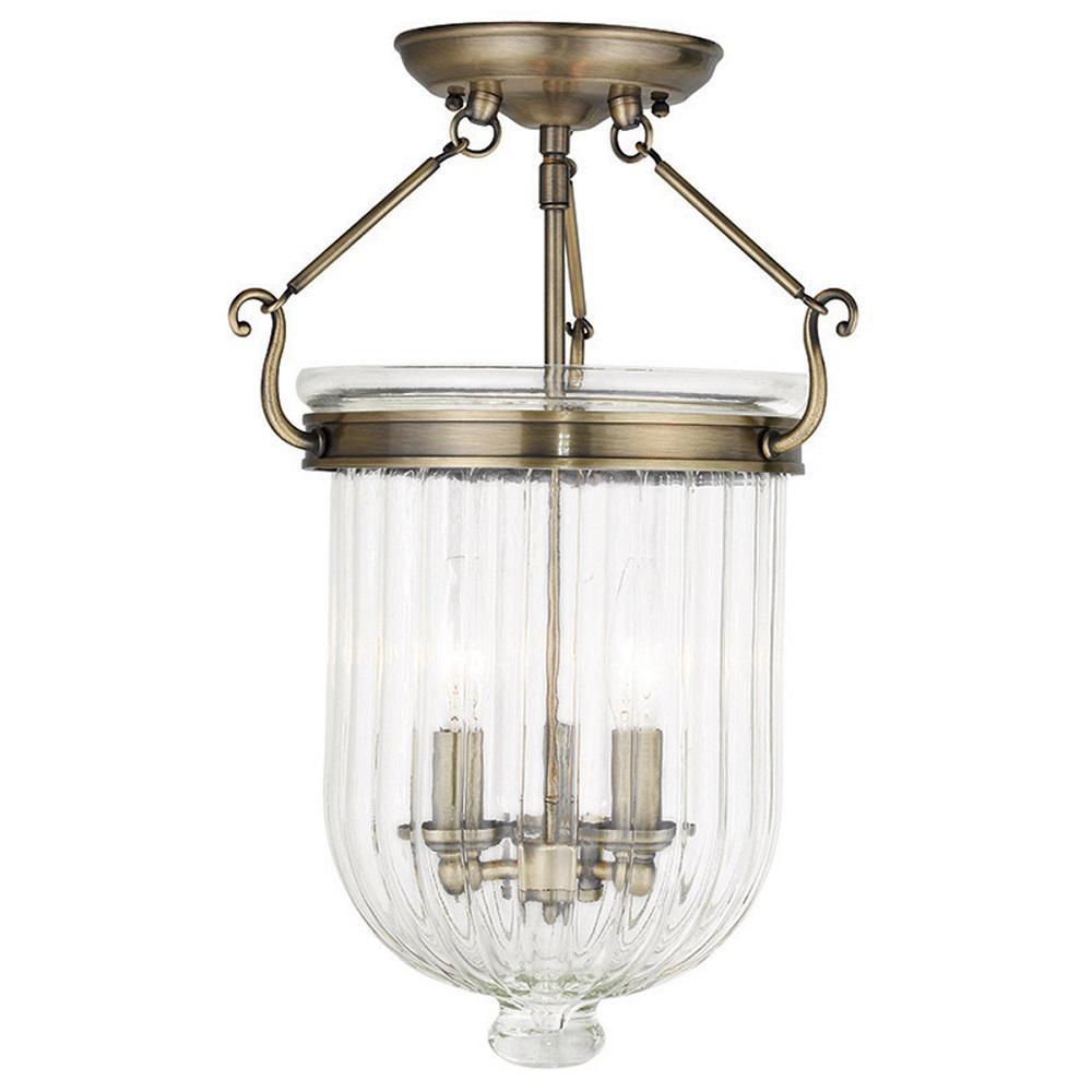 Coventry 3-Light Antique Brass Flushmount