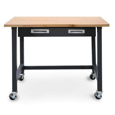 4 ft. Wood Top Workbench on Wheels with Sliding Organizer Drawer in Graphite