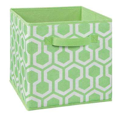 11 in. W x 11 in. H x 11 in. D Green Hexagon Print Fabric Drawer