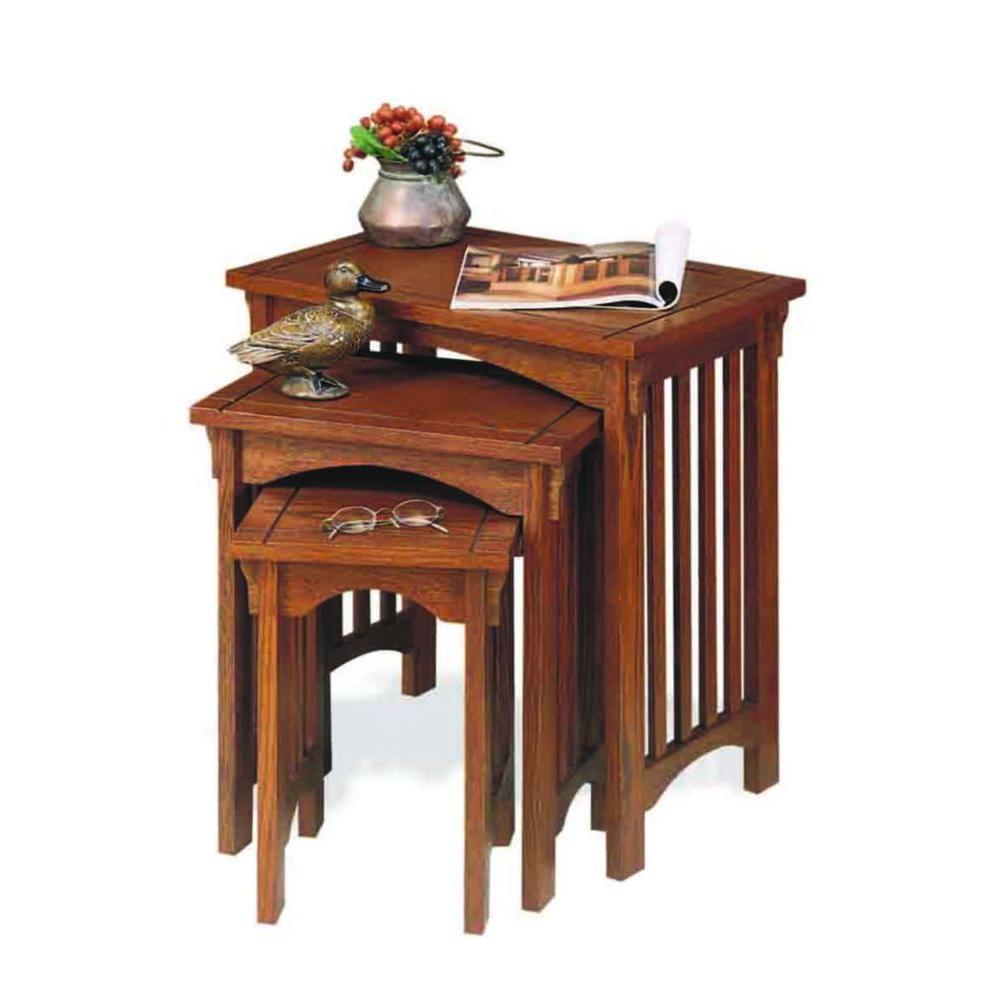 Merveilleux Unbranded Mission Oak Nesting End Table (Set Of 3)