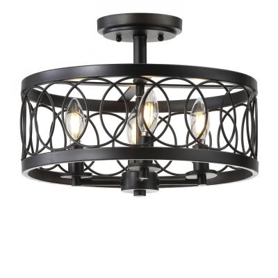 Sylvain 15.5 in. Oil Rubbed Bronze Metal LED Semi-Flush Mount