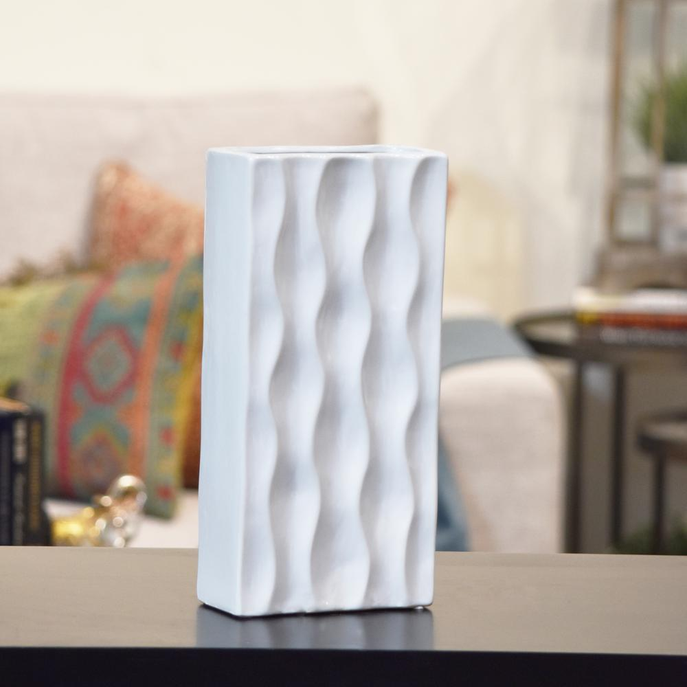 White Gloss Ceramic Decorative Vase