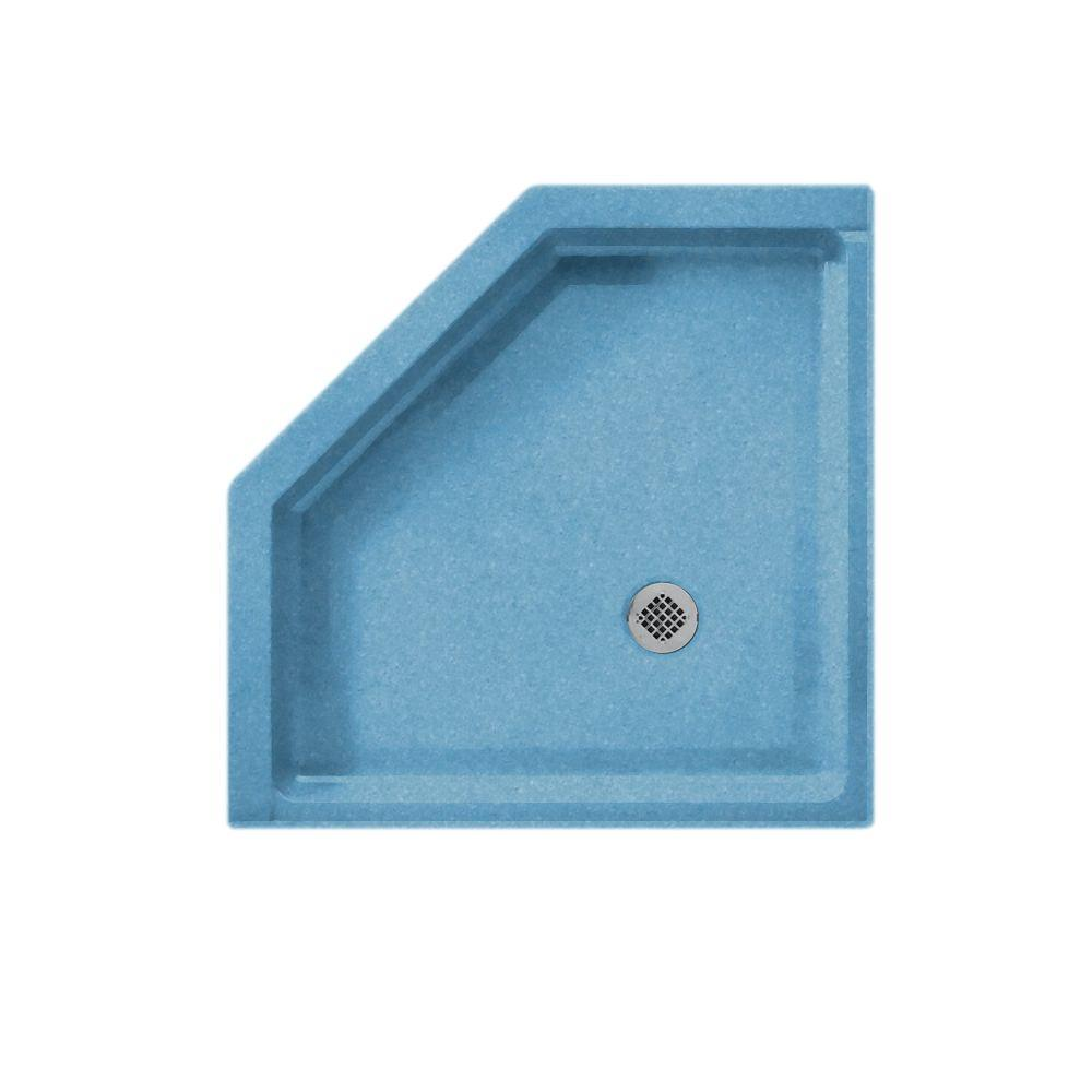 Swanstone Neo Angle 38 in. x 38 in. Single Threshold Shower Floor in Tahiti Blue-DISCONTINUED