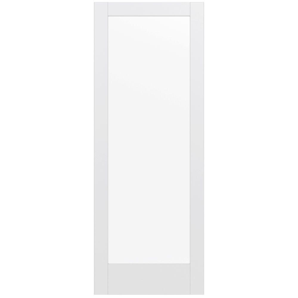 JELD-WEN 36 in. x 96 in. MODA Primed PMC1011 Solid Core Wood Interior Door Slab w/Clear Glass