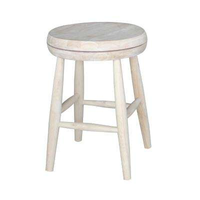 Scooped Seat 18 in. Unfinished Wood Swivel Bar Stool