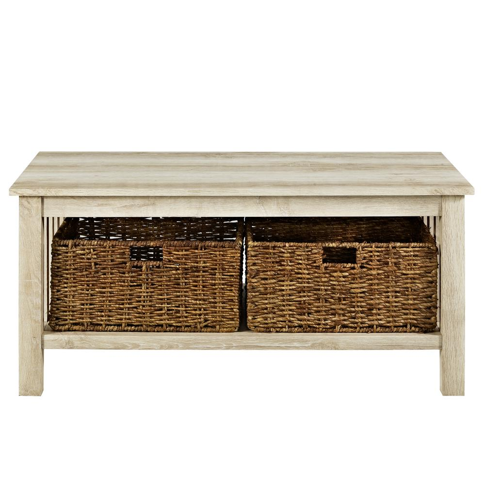 Walker Edison Furniture Company 40 In. White Oak Wood Storage Coffee Table  With Totes