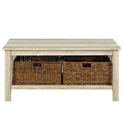 white oak wood storage coffee table with totes