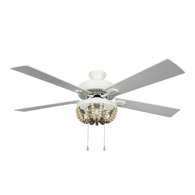 August 52 in. LED Indoor Cream Ceiling Fan with Light