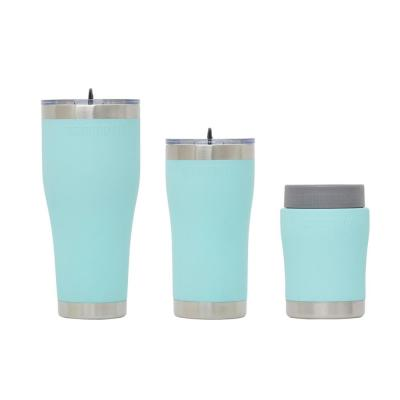 Chillski 12 oz. Tumbler, 20 oz. Tumbler with Lid and 30 oz. Tumbler Sea Foam Drink Set with Lid (3-Pack)
