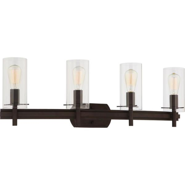 Regina 4-Light 8 in. Antique Bronze Indoor Bathroom Vanity Wall Sconce or Wall Mount with Clear Glass Cylinder Shades