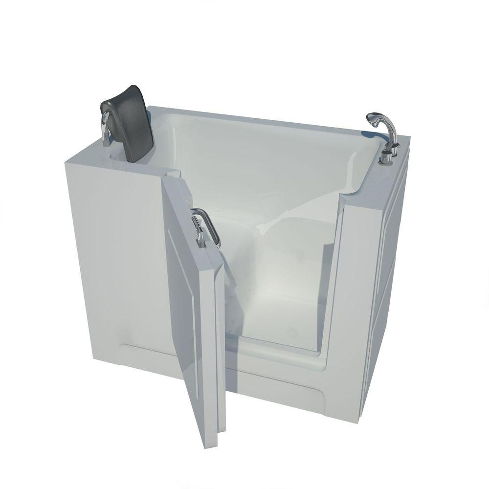 Nova Heated 4 ft. Walk-In Non-Whirlpool Bathtub in White with Chrome