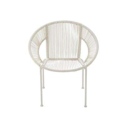 White Tin and Rattan Round Chair