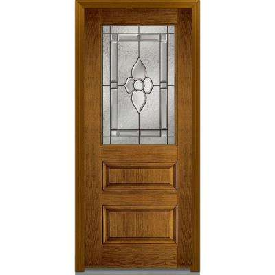 36 in. x 80 in. Master Nouveau Right-Hand 1/2 Lite 2-Panel Classic Stained Fiberglass Oak Prehung Front Door