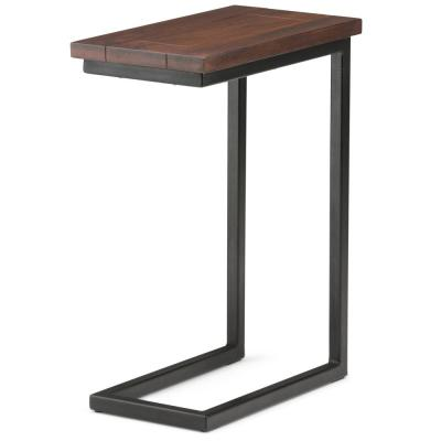Glenna Solid Mango Wood and Metal 18 inch Wide Rectangle Industrial C Side Table in Dark Cognac Brown, Fully Assembled