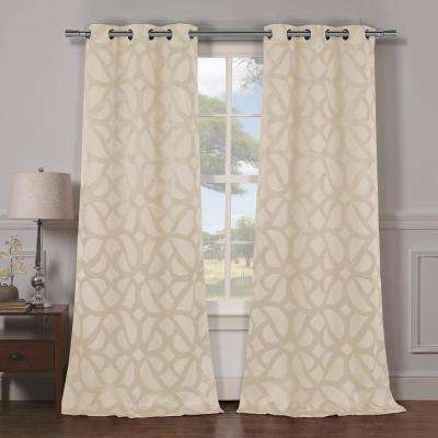 Charlotte 38 in. x 84 in. L Polyester Blackout Curtain Panel in Champagne (2-Pack)