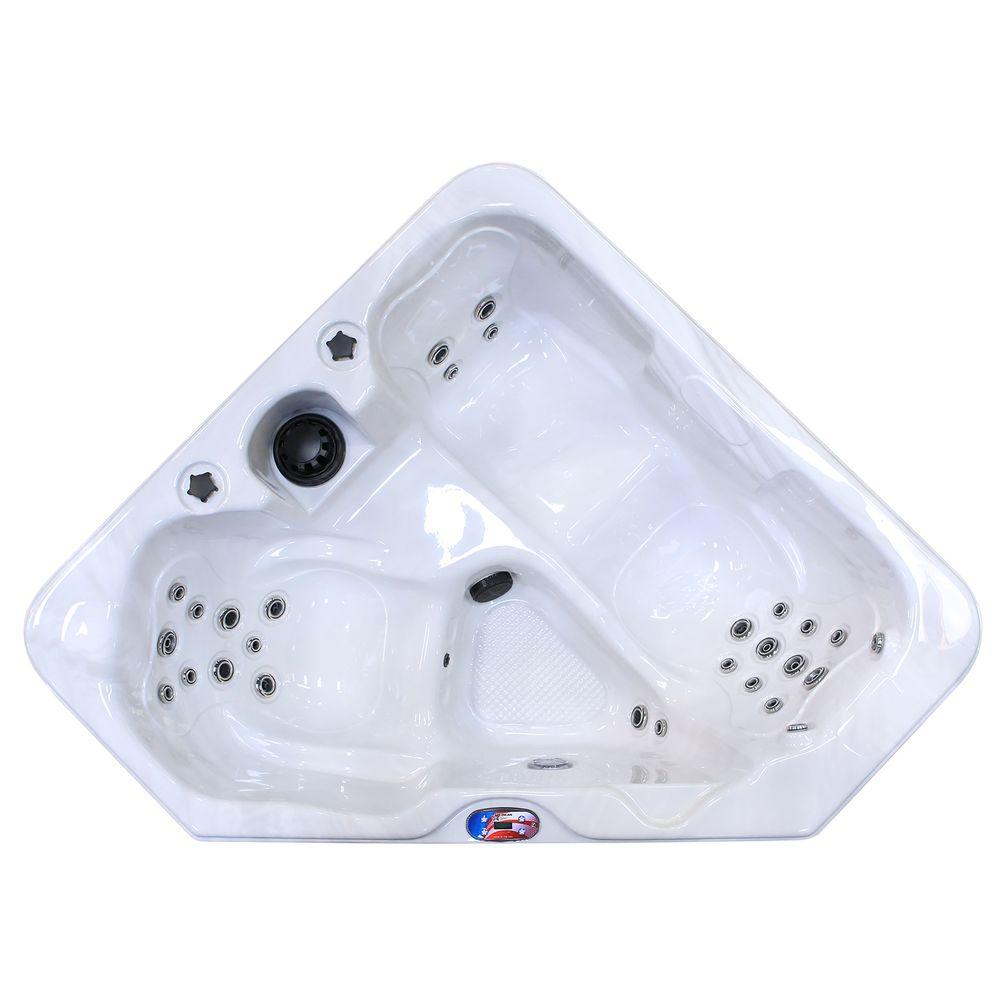 2-Person 28-Jet Triangle Sterling Silver Spa Hot Tub with Multi Color
