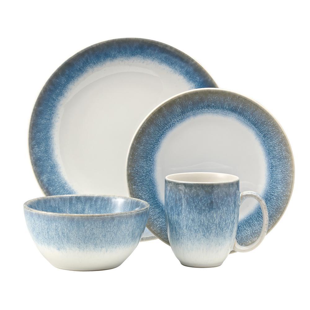 Alabaster 16-Piece Casual Blue Stoneware Dinnerware Set (Service for 4)