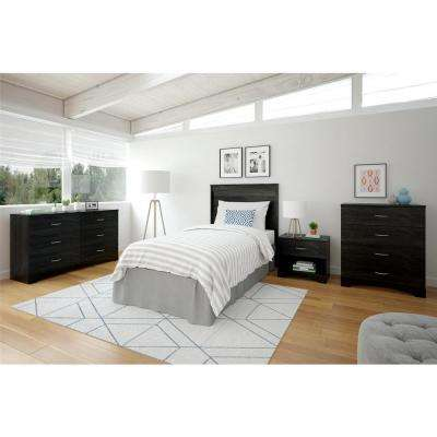 Crescent Point Twin Size Black Headboard