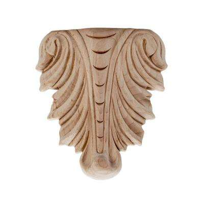 3-1/4 in. x 2-3/4 in. x 5/8 in. Unfinished Hand Carved North American Solid Hard Maple Wood Onlay Acanthus Wood Applique
